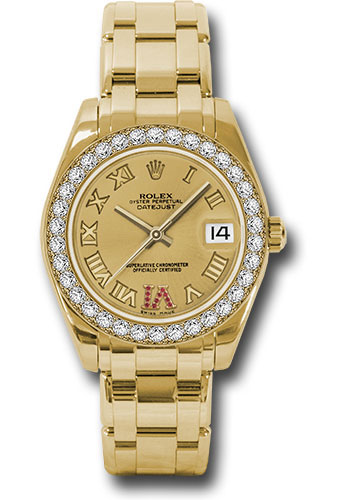 Rolex Watches - Datejust Pearlmaster 34 Yellow Gold - 34 Diamond Bezel - Style No: 81298 chrr