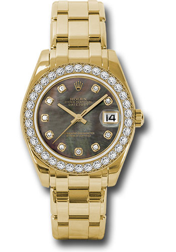 Rolex Watches - Datejust Pearlmaster 34 Yellow Gold - 34 Diamond Bezel - Style No: 81298 dkmd
