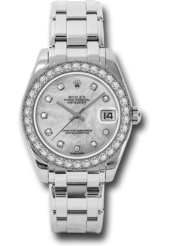 Rolex Watches - Datejust Pearlmaster 34 White Gold - 34 Diamond Bezel - Style No: 81299 md