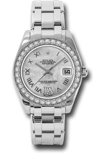 Rolex Watches - Datejust Pearlmaster 34 White Gold - 34 Diamond Bezel - Style No: 81299 mdr