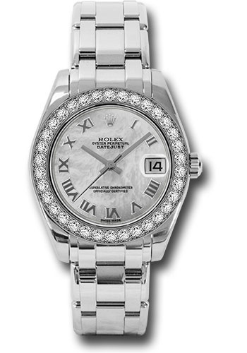Rolex Watches - Datejust Pearlmaster 34 White Gold - 34 Diamond Bezel - Style No: 81299 mr