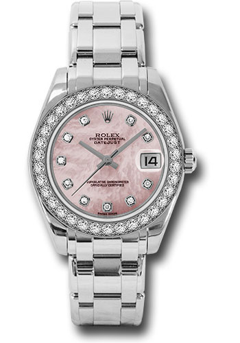 Rolex Watches - Datejust Pearlmaster 34 White Gold - 34 Diamond Bezel - Style No: 81299 pmd