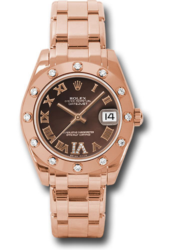 Rolex Watches - Datejust Pearlmaster 34 Everose Gold - 12 Diamond Bezel - Style No: 81315 chodr
