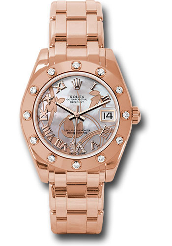 Rolex Watches - Datejust Pearlmaster 34 Everose Gold - 12 Diamond Bezel - Style No: 81315 gdddr