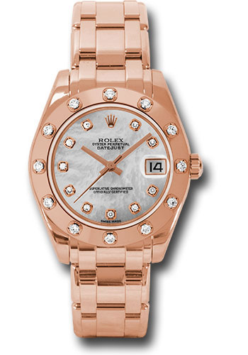 Rolex Watches - Datejust Pearlmaster 34 Everose Gold - 12 Diamond Bezel - Style No: 81315 md