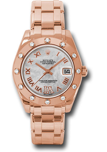 Rolex Watches - Datejust Pearlmaster 34 Everose Gold - 12 Diamond Bezel - Style No: 81315 mdr