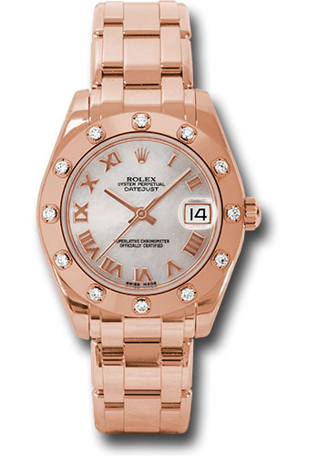 Rolex Watches - Datejust Pearlmaster 34 Everose Gold - 12 Diamond Bezel - Style No: 81315 mr