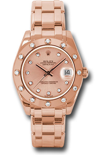Rolex Watches - Datejust Pearlmaster 34 Everose Gold - 12 Diamond Bezel - Style No: 81315 pchd