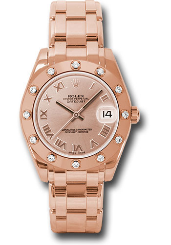 Rolex Watches - Datejust Pearlmaster 34 Everose Gold - 12 Diamond Bezel - Style No: 81315 pr
