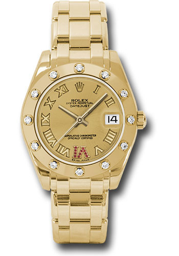 Rolex Watches - Datejust Pearlmaster 34 Yellow Gold - 12 Diamond Bezel - Style No: 81318 chrr