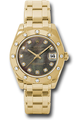 Rolex Watches - Datejust Pearlmaster 34 Yellow Gold - 12 Diamond Bezel - Style No: 81318 dkmd
