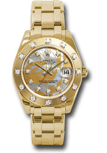Rolex Watches - Datejust Pearlmaster 34 Yellow Gold - 12 Diamond Bezel - Style No: 81318 gdd