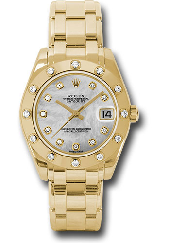 Rolex Watches - Datejust Pearlmaster 34 Yellow Gold - 12 Diamond Bezel - Style No: 81318 md