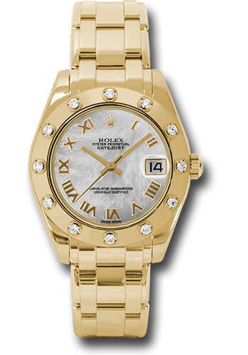 Rolex Watches - Datejust Pearlmaster 34 Yellow Gold - 12 Diamond Bezel - Style No: 81318 mr