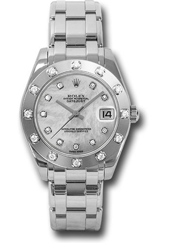 Rolex Watches - Datejust Pearlmaster 34 White Gold - 12 Diamond Bezel - Style No: 81319 md
