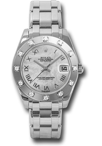Rolex Watches - Datejust Pearlmaster 34 White Gold - 12 Diamond Bezel - Style No: 81319 mr