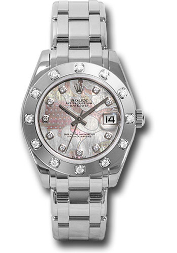 Rolex Watches - Datejust Pearlmaster 34 White Gold - 12 Diamond Bezel - Style No: 81319 pgdd