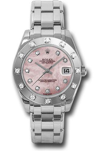 Rolex Watches - Datejust Pearlmaster 34 White Gold - 12 Diamond Bezel - Style No: 81319 pmd