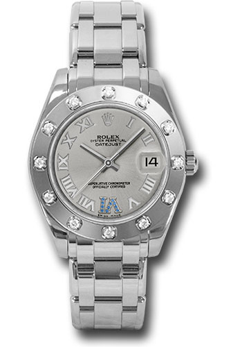 Rolex Watches - Datejust Pearlmaster 34 White Gold - 12 Diamond Bezel - Style No: 81319 ssr