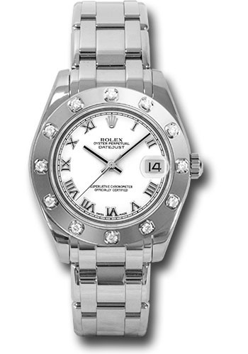 Rolex Watches - Datejust Pearlmaster 34 White Gold - 12 Diamond Bezel - Style No: 81319 wr