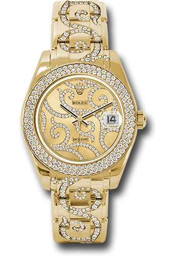 Rolex Watches - Datejust Pearlmaster 34 Yellow Gold - 116 Diamond Bezel - Style No: 81338 arabesque