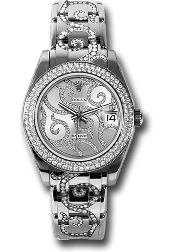 Rolex Watches - Datejust Pearlmaster 34 White Gold - 116 Diamond Bezel - Style No: 81339 arabesque