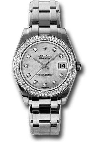 Rolex Watches - Datejust Pearlmaster 34 White Gold - 116 Diamond Bezel - Style No: 81339 md