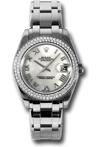 Rolex Watches - Datejust Pearlmaster 34 White Gold - 116 Diamond Bezel - Style No: 81339 mr