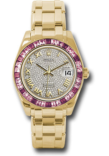 Rolex Watches - Datejust Pearlmaster 34 Yellow Gold - 36 Pink Sapphire Bezel - Style No: 81348SARO dpr