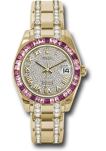 Rolex Watches - Datejust Pearlmaster 34 Yellow Gold - 36 Pink Sapphire Bezel - Style No: 81348SARO dprdp