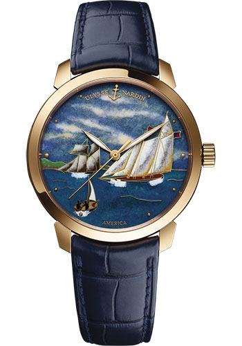 Ulysse Nardin Watches - Classico Automatic - Rose Gold - Leather Strap - Style No: 8152-111-2/AMERICA