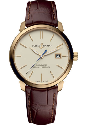 Ulysse Nardin Watches - Classico Automatic - Rose Gold - Leather Strap - Style No: 8156-111-2/91