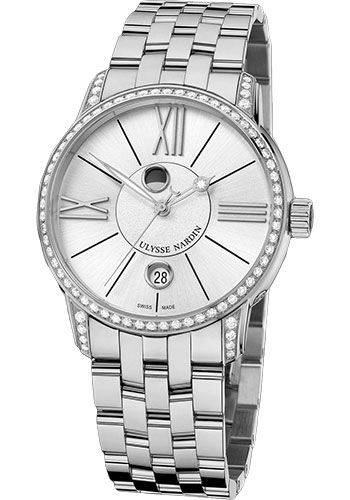 Ulysse Nardin Watches - Classic Luna Stainless Steel Diamonds - Style No: 8293-122B-7/41
