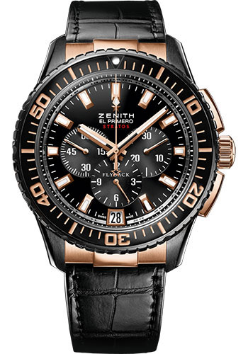 Zenith Watches - El Primero Stratos Flyback Black Alchron and Rose Gold - Style No: 85.2060.405/23.C714