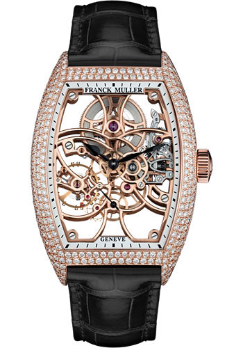 Franck Muller Watches - Cintre Curvex - Manual - 39.6 mm Rose Gold - Dia Case - Strap - Style No: 8880 B S6 SQT D 5N Black