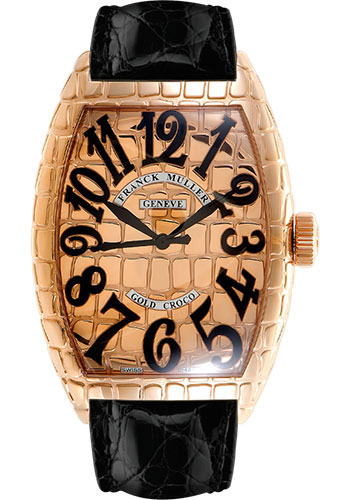 Franck Muller Watches - Cintre Curvex - Automatic - 39.6 mm Rose Gold Croco Case - Strap - Style No: 8880 SC GOLD CRO 5LG Black
