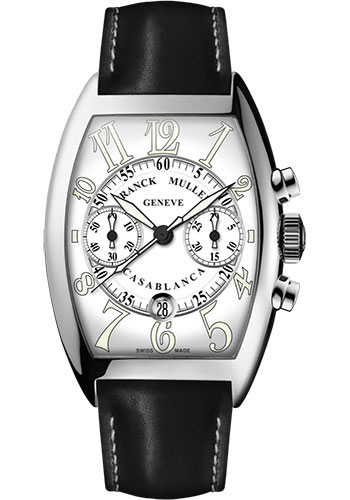 Franck Muller Watches - Cintre Curvex - Automatic Chronograph - 43 mm Casablanca - Stainless Steel - Strap - Style No: 9880 C CC DT AC White Black