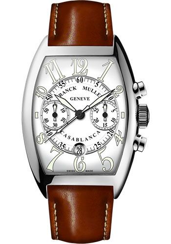 Franck Muller Watches - Cintre Curvex - Automatic Chronograph - 43 mm Casablanca - Stainless Steel - Strap - Style No: 9880 C CC DT AC White Brown