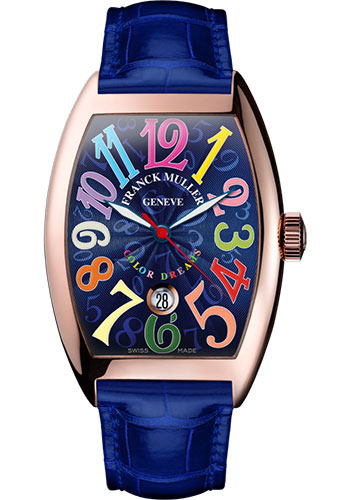Franck Muller Watches - Cintre Curvex - Automatic - 43 mm Color Dreams - Rose Gold - Strap - Style No: 9880 SC DT COL DRM 5N Blue