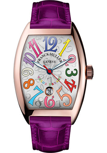 Franck Muller Watches - Cintre Curvex - Automatic - 43 mm Color Dreams - Rose Gold - Strap - Style No: 9880 SC DT COL DRM 5N White Fuchsia