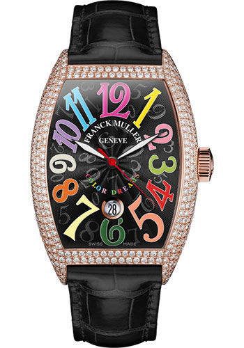 Franck Muller Watches - Cintre Curvex - Automatic - 43 mm Color Dreams - Rose Gold - Dia Case - Strap - Style No: 9880 SC DT COL DRM D7 5N Black