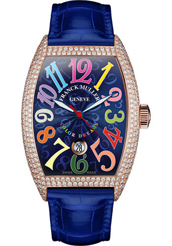 Franck Muller Watches - Cintre Curvex - Automatic - 43 mm Color Dreams - Rose Gold - Dia Case - Strap - Style No: 9880 SC DT COL DRM D7 5N Blue