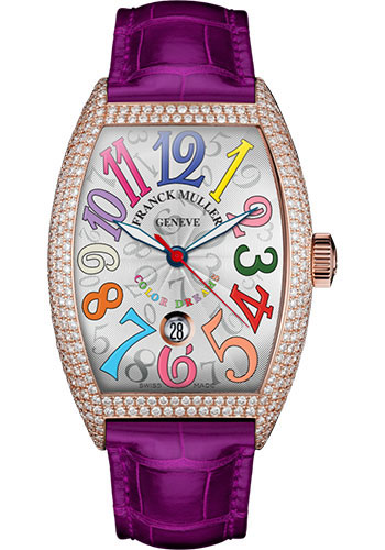 Franck Muller Watches - Cintre Curvex - Automatic - 43 mm Color Dreams - Rose Gold - Dia Case - Strap - Style No: 9880 SC DT COL DRM D7 5N White Fuchsia