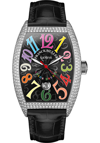 Franck Muller Watches - Cintre Curvex - Automatic - 43 mm Color Dreams - White Gold - Dia Case - Strap - Style No: 9880 SC DT COL DRM D7 OG Black