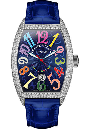 Franck Muller Watches - Cintre Curvex - Automatic - 43 mm Color Dreams - Platinum - Dia Case - Strap - Style No: 9880 SC DT COL DRM D7 PT Blue