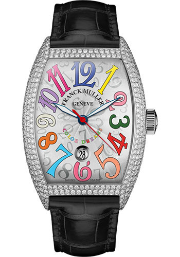 Franck Muller Watches - Cintre Curvex - Automatic - 43 mm Color Dreams - Platinum - Dia Case - Strap - Style No: 9880 SC DT COL DRM D7 PT White Black