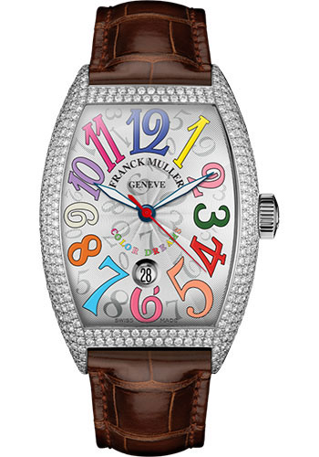 Franck Muller Watches - Cintre Curvex - Automatic - 43 mm Color Dreams - Platinum - Dia Case - Strap - Style No: 9880 SC DT COL DRM D7 PT White Brown