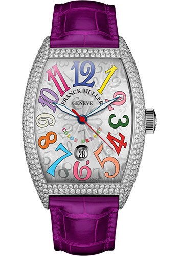 Franck Muller Watches - Cintre Curvex - Automatic - 43 mm Color Dreams - Platinum - Dia Case - Strap - Style No: 9880 SC DT COL DRM D7 PT White Fuchsia