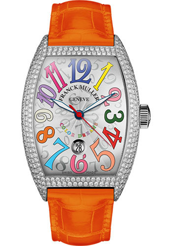 Franck Muller Watches - Cintre Curvex - Automatic - 43 mm Color Dreams - Platinum - Dia Case - Strap - Style No: 9880 SC DT COL DRM D7 PT White Orange