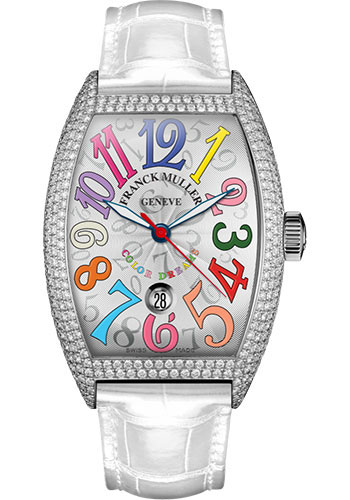 Franck Muller Watches - Cintre Curvex - Automatic - 43 mm Color Dreams - Platinum - Dia Case - Strap - Style No: 9880 SC DT COL DRM D7 PT White White